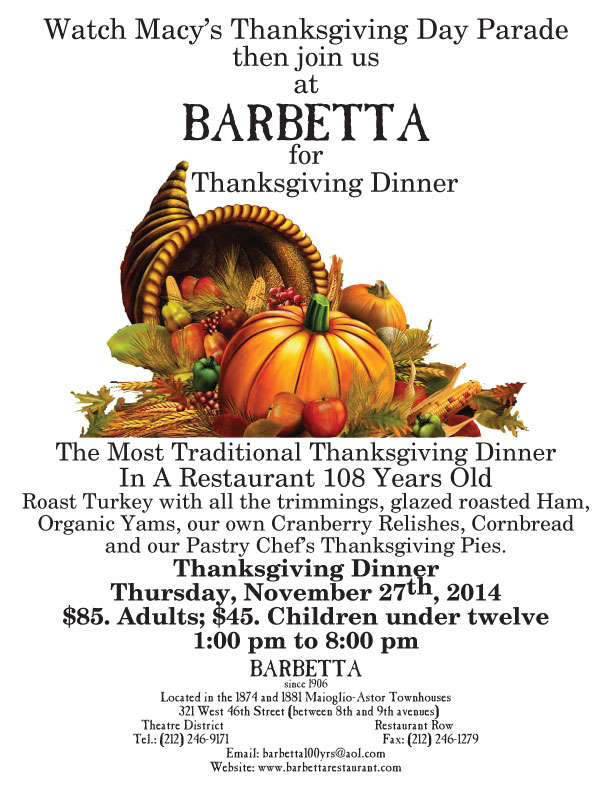 Thanksgiving at Barbetta